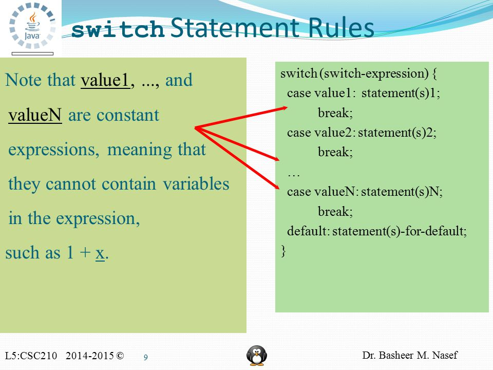 L5:CSC210 2014-2015 © Dr. Basheer M. Nasef 9 switch Statement Rules switch (switch-expression) { case value1: statement(s)1; break; case value2: state