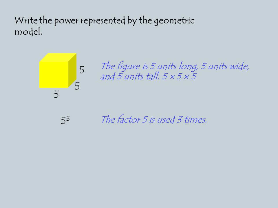 Write the power represented by the geometric model.