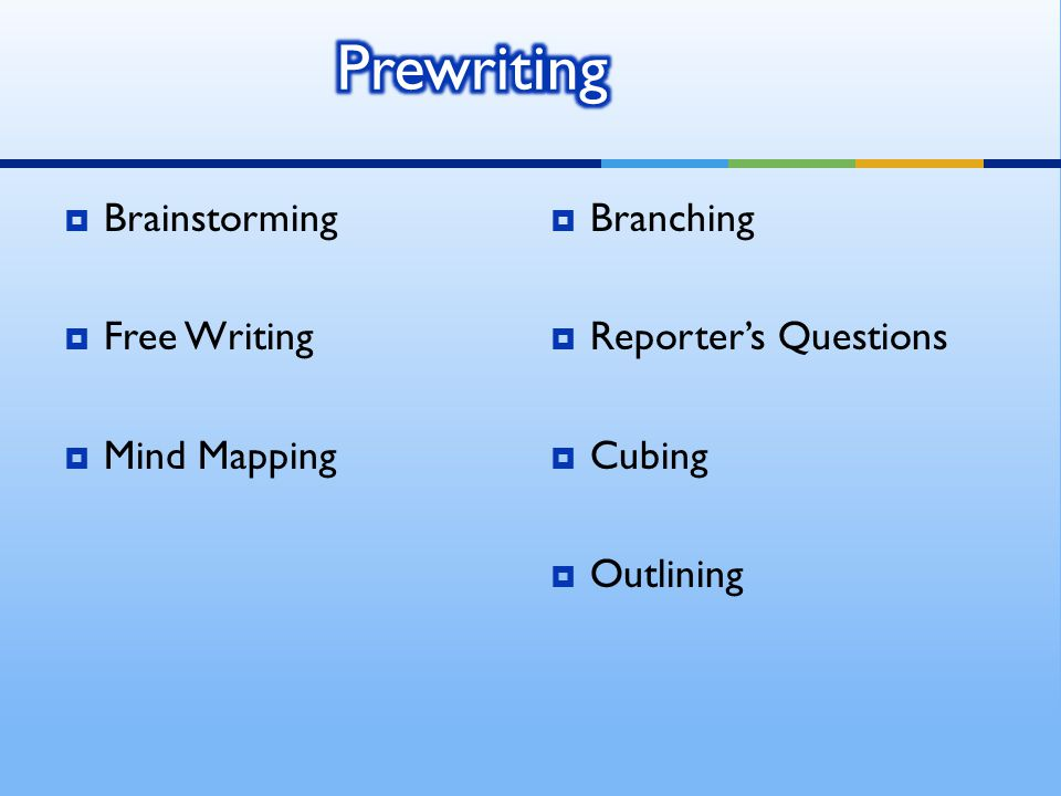  Brainstorming  Free Writing  Mind Mapping  Branching  Reporter's Questions  Cubing  Outlining