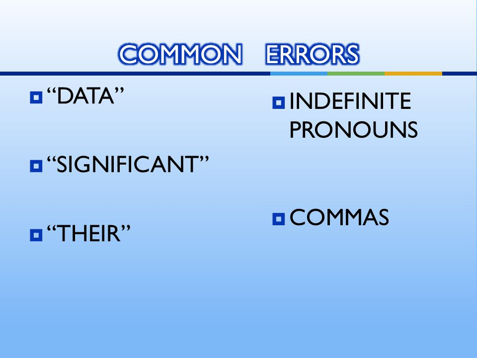  DATA  SIGNIFICANT  THEIR  INDEFINITE PRONOUNS  COMMAS