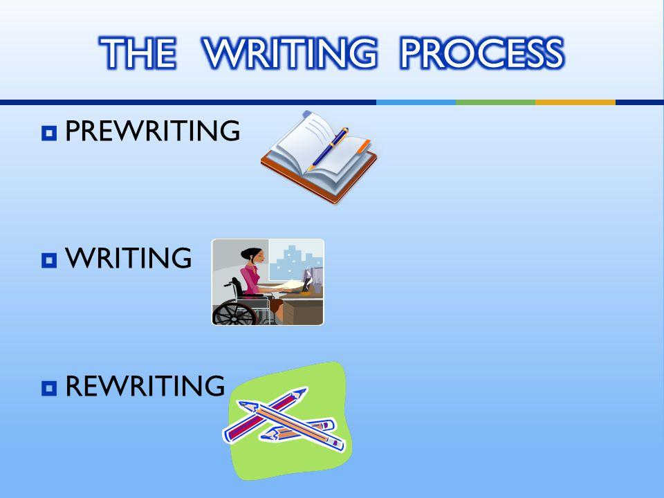  PREWRITING  WRITING  REWRITING