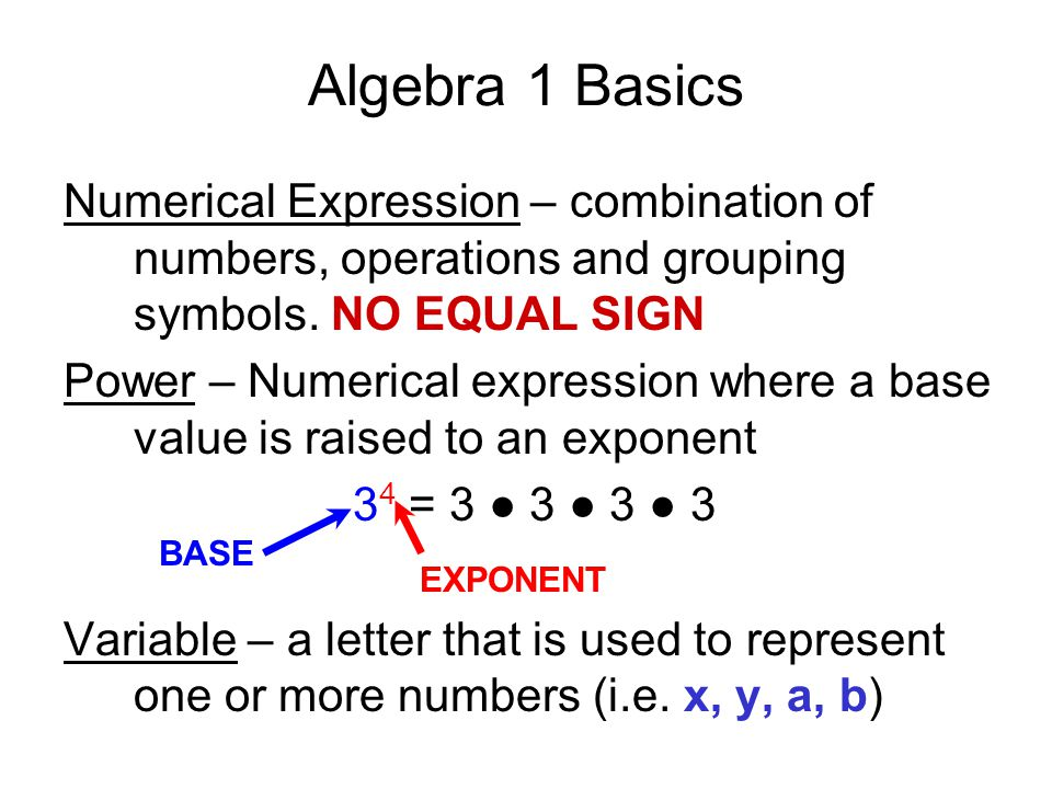 Algebra 1 Basics Numerical Expression – combination of numbers, operations and grouping symbols. NO EQUAL SIGN Power – Numerical expression where a ba