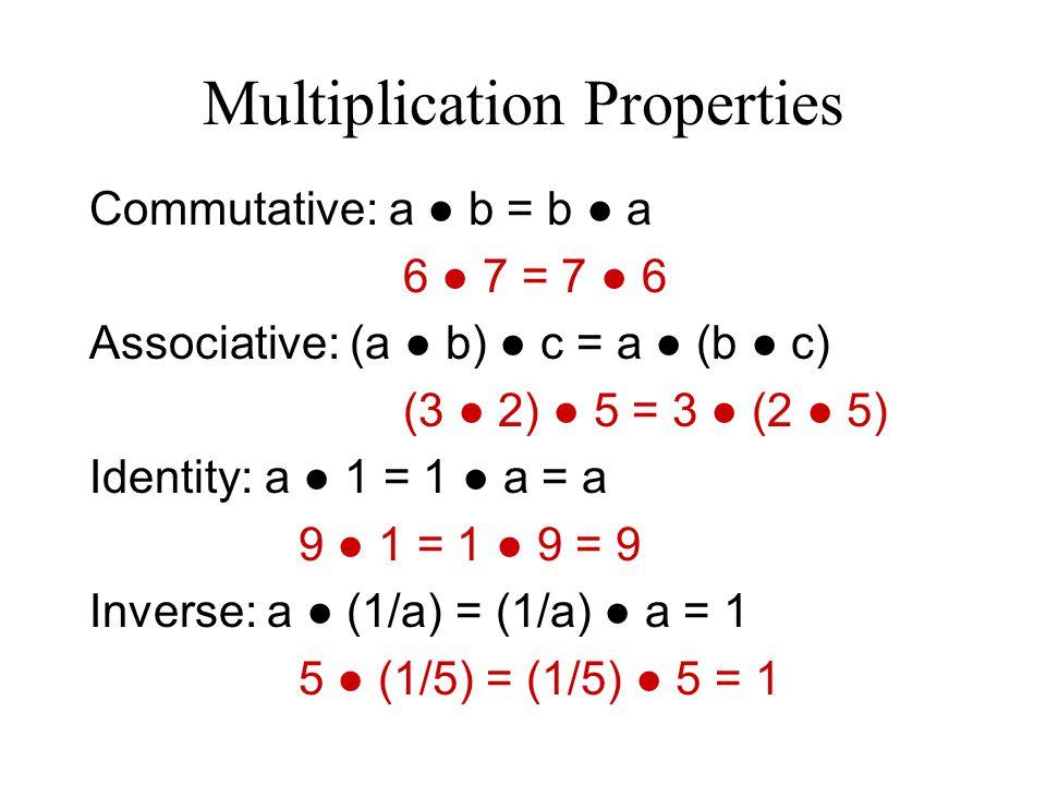 Distributive Property a ● (b + c) = a ● b + a ● c (or) (b + c) ● a = b ● a + c ● a 7 ● (x + 3) = 7 ● x + 7 ● 3 = 7x + 21