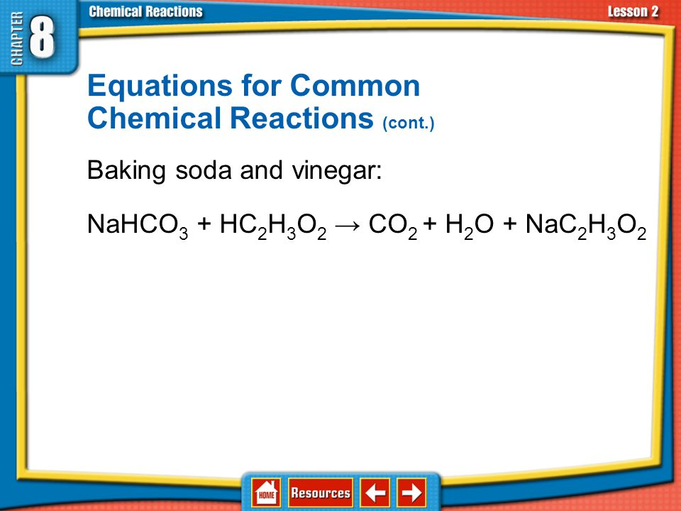 Equations for Common Chemical Reactions Reaction of methane: CH 4 + O 2 → CO 2 + H 2 O balance hydrogen CH 4 + O 2 → CO 2 + 2H 2 O balance oxygen CH 4 + 2O 2 → CO 2 + 2H 2 O 8.2 Chemical Equations