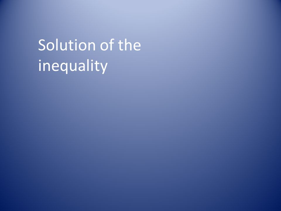 Solution of the inequality