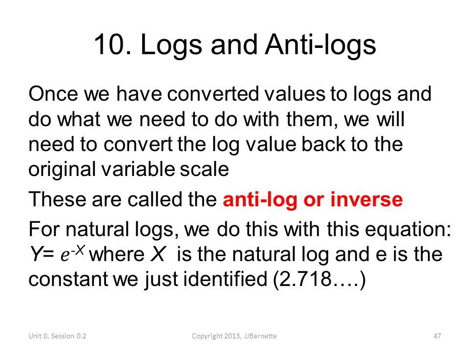 10. Logs and Anti-logs Unit 0, Session 0.2Copyright 2013, JJBarnette47