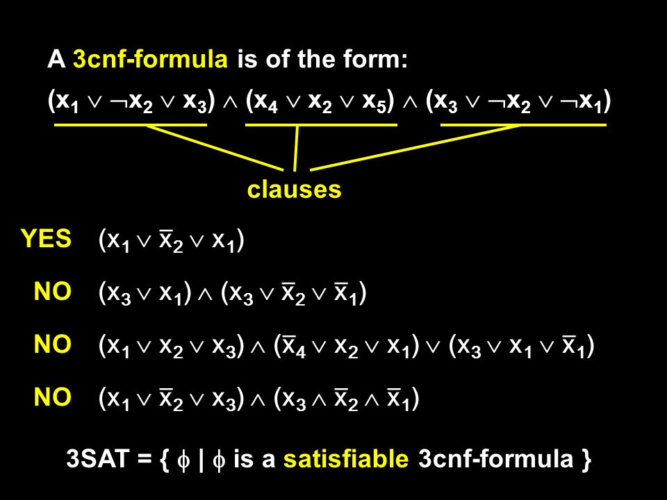 A 3cnf-formula is of the form: (x 1   x 2  x 3 )  (x 4  x 2  x 5 )  (x 3   x 2   x 1 ) clauses (x 1  x̅ 2  x 1 ) (x 3  x 1 )  (x 3  x̅ 2  x̅ 1 ) (x 1  x 2  x 3 )  (x̅ 4  x 2  x 1 )  (x 3  x 1  x̅ 1 ) (x 1  x̅ 2  x 3 )  (x 3  x̅ 2  x̅ 1 ) YES NO 3SAT = {  |  is a satisfiable 3cnf-formula }