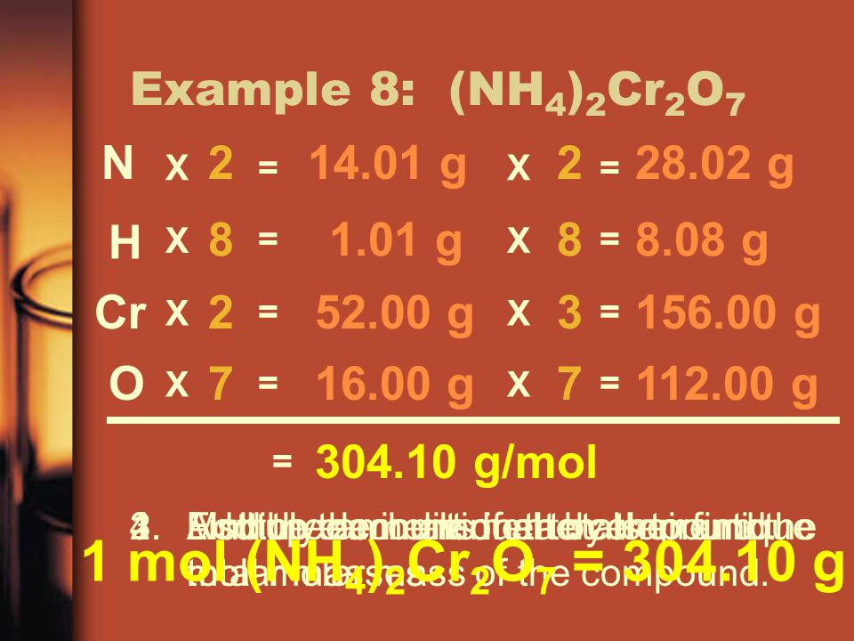 Example 8: (NH 4 ) 2 Cr 2 O 7 1.List the elements in the compound.2.Find the amount of each element.3.Multiply each element by their unique molar masses 4.Add up the individual totals to find the total molar mass of the compound.