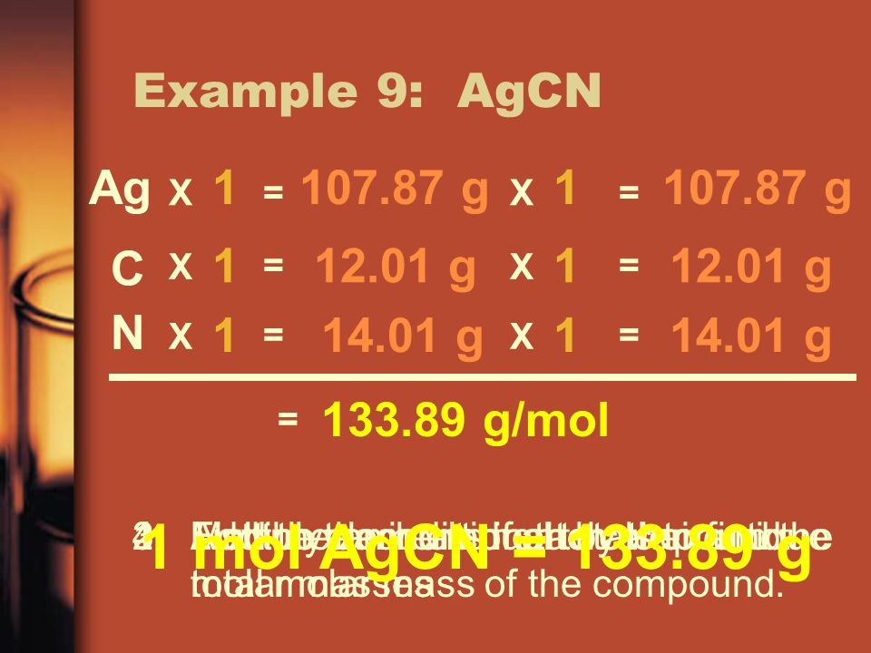 Example 9: AgCN 1.List the elements in the compound.2.Find the amount of each element.3.Multiply each element by their unique molar masses 4.Add up the individual totals to find the total molar mass of the compound.