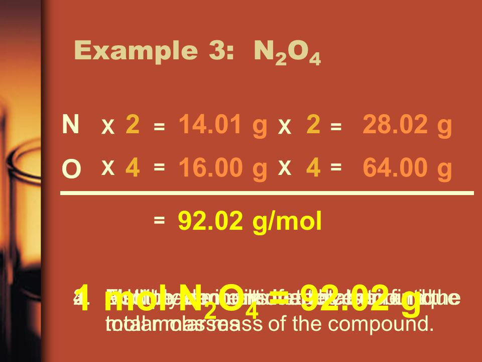 Example 3: N 2 O 4 1.List the elements in the compound.2.Find the amount of each element.3.Multiply each element by their unique molar masses 4.Add up the individual totals to find the total molar mass of the compound.