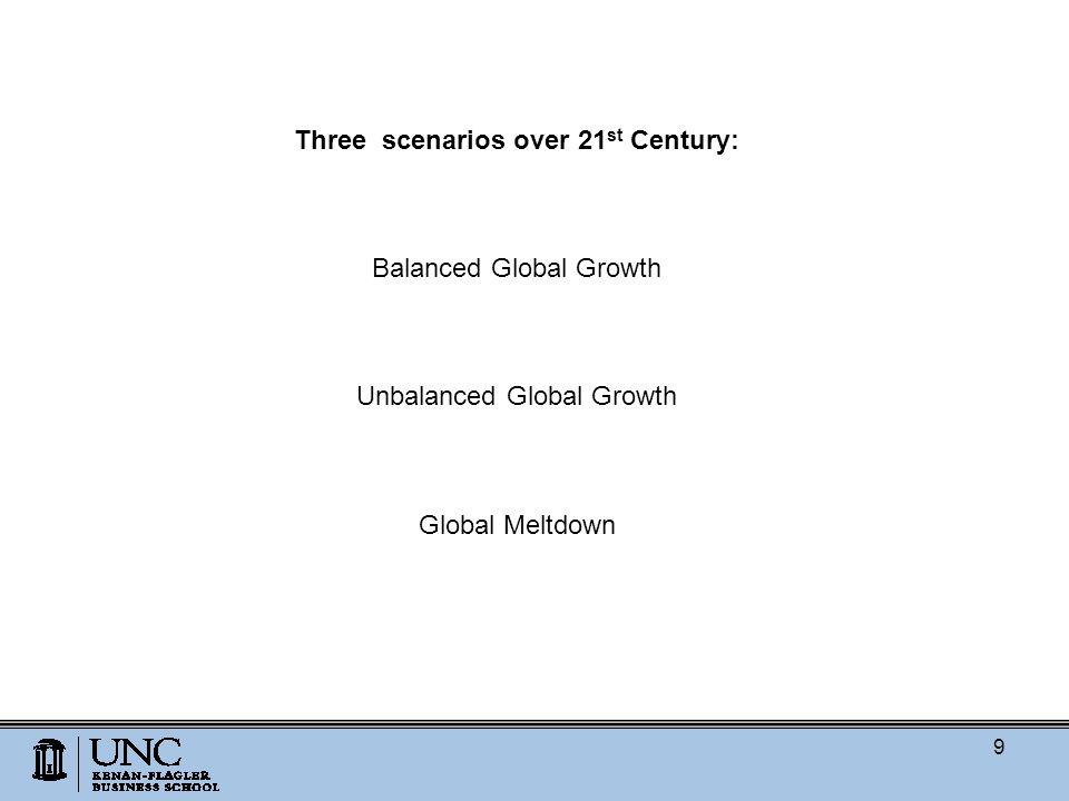 Three scenarios over 21 st Century: Balanced Global Growth Unbalanced Global Growth Global Meltdown 9