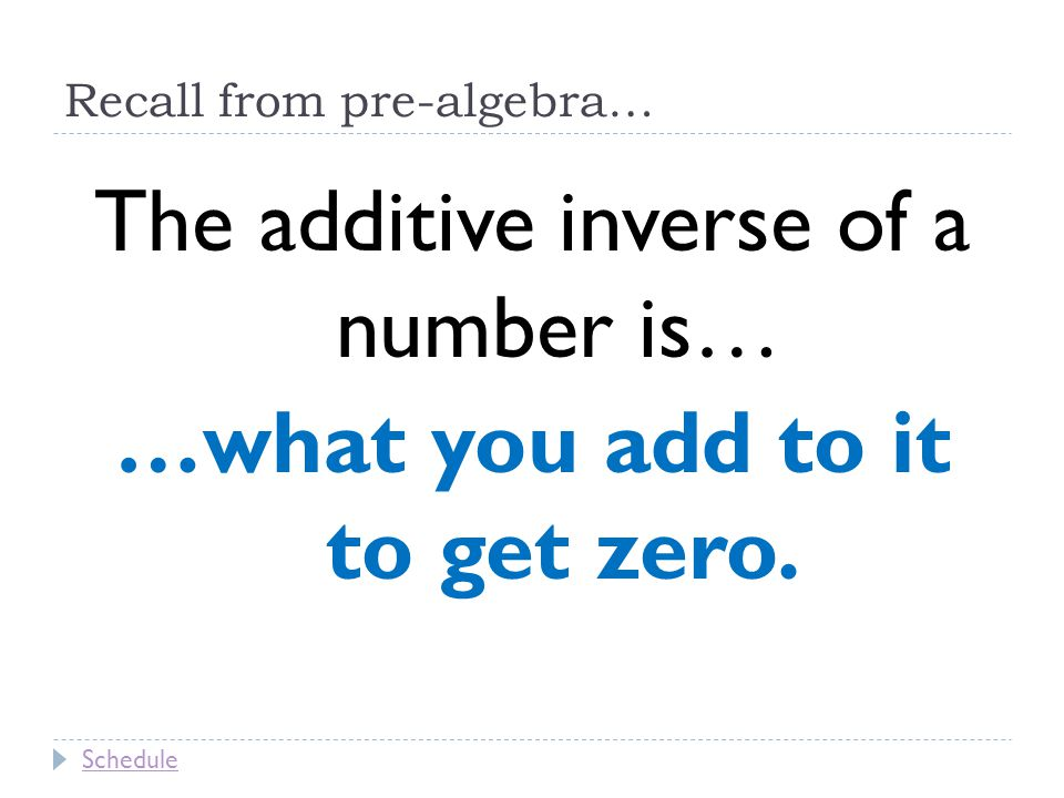 Recall from pre-algebra… The additive inverse of a number is… …what you add to it to get zero.