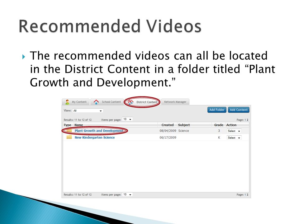  The recommended videos can all be located in the District Content in a folder titled Plant Growth and Development.