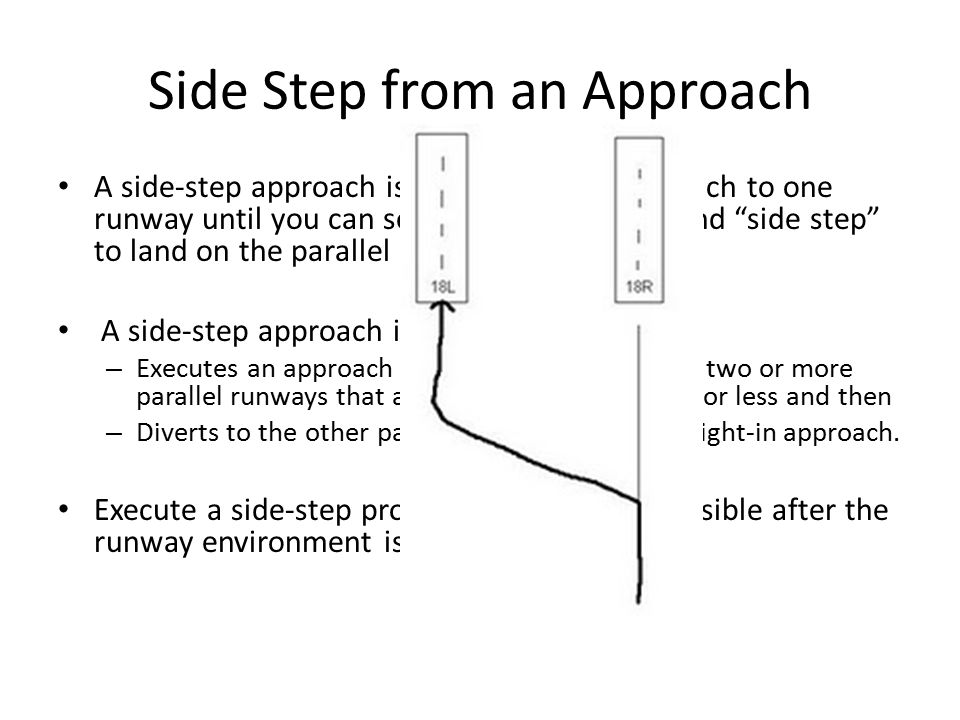 "Side Step from an Approach A side-step approach is an instrument approach to one runway until you can see a parallel runway and ""side step"" to land on"