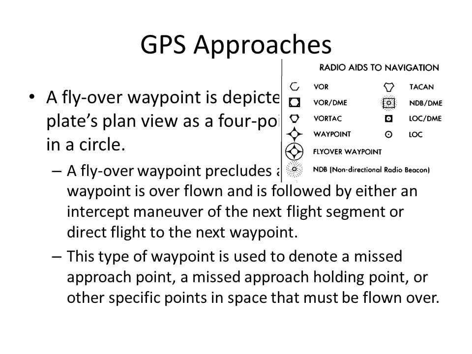 GPS Approaches A fly-over waypoint is depicted on an approach plate's plan view as a four-pointed star enclosed in a circle. – A fly-over waypoint pre