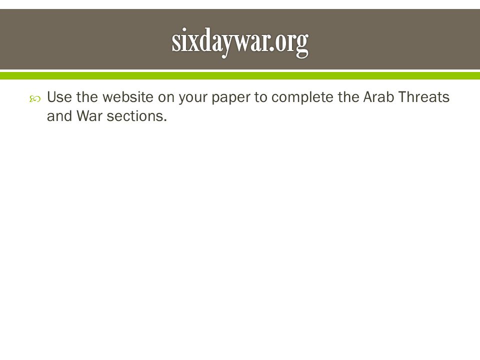  Use the website on your paper to complete the Arab Threats and War sections.