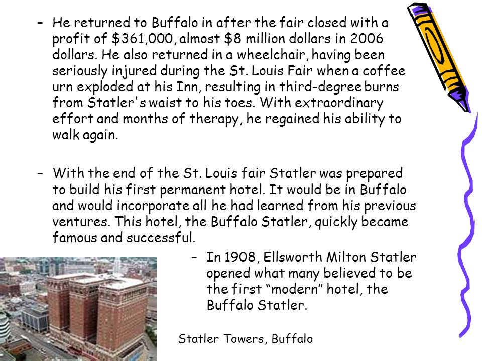 –He returned to Buffalo in after the fair closed with a profit of $361,000, almost $8 million dollars in 2006 dollars.