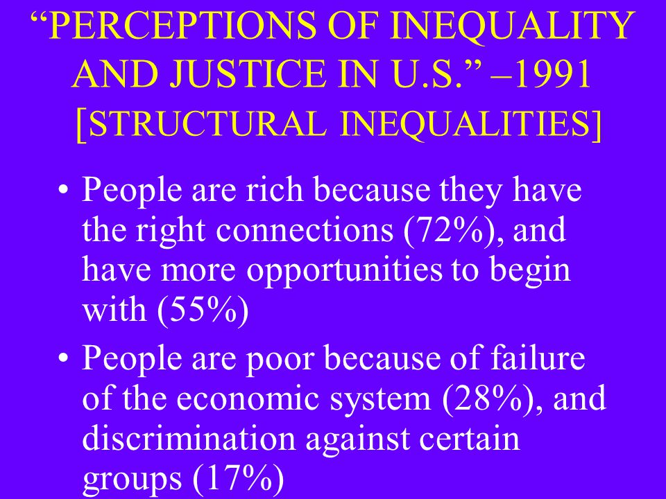 """PERCEPTIONS OF INEQUALITY AND JUSTICE IN U.S."" –1991 [ STRUCTURAL INEQUALITIES] People are rich because they have the right connections (72%), and ha"