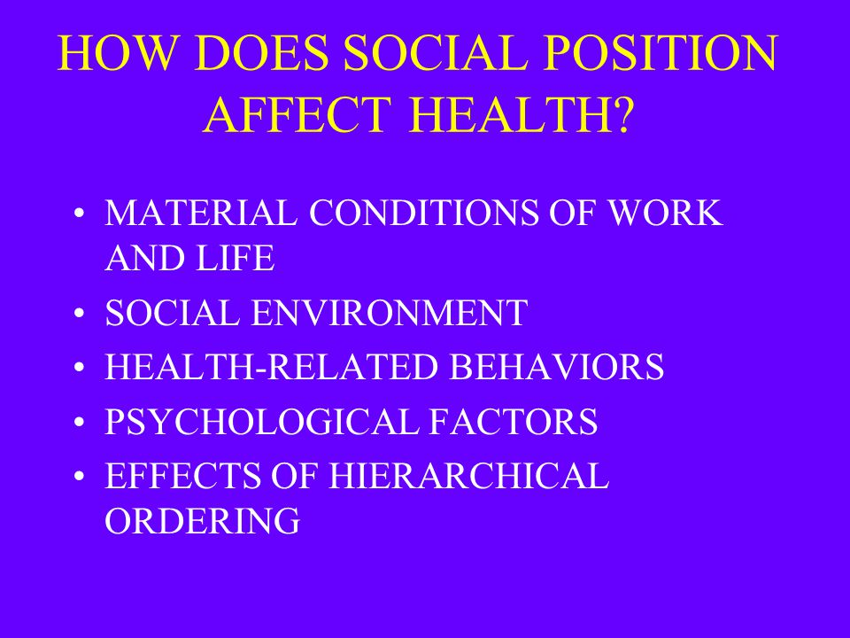 HOW DOES SOCIAL POSITION AFFECT HEALTH? MATERIAL CONDITIONS OF WORK AND LIFE SOCIAL ENVIRONMENT HEALTH-RELATED BEHAVIORS PSYCHOLOGICAL FACTORS EFFECTS