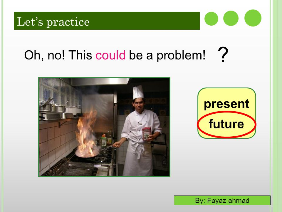 By: Fayaz ahmad present future Oh, no! This could be a problem! ? Let's practice