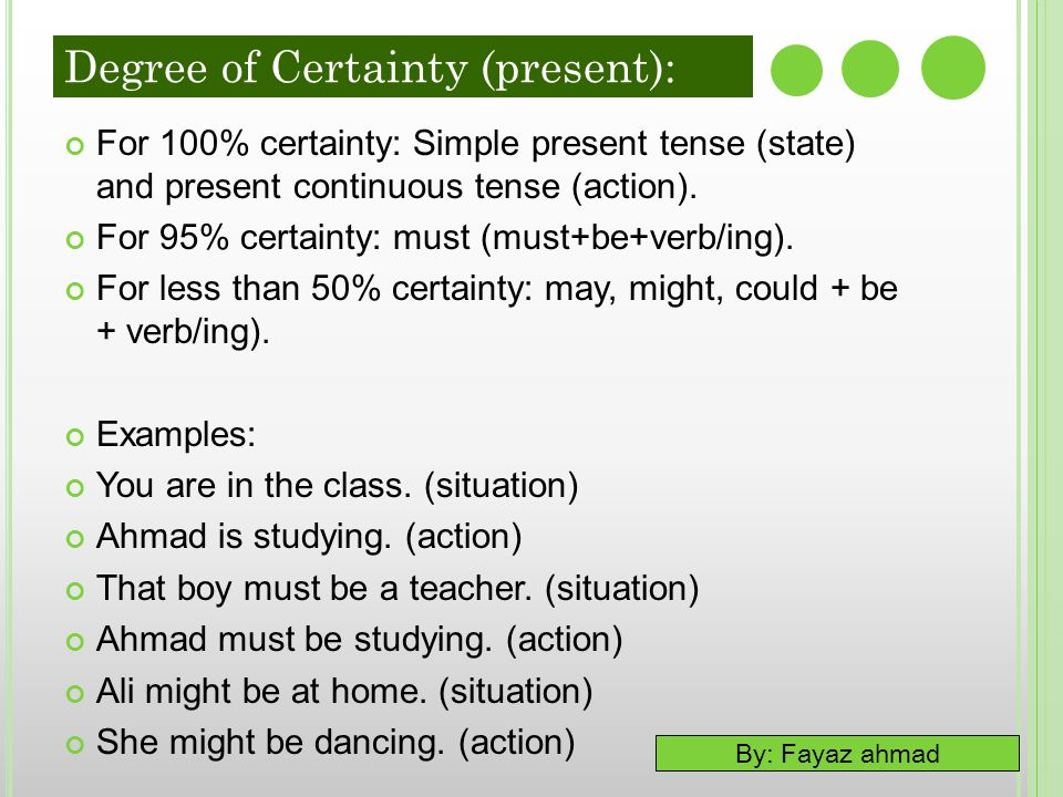 By: Fayaz ahmad Degree of Certainty (present): For 100% certainty: Simple present tense (state) and present continuous tense (action). For 95% certain