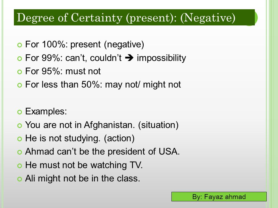 By: Fayaz ahmad For 100%: present (negative) For 99%: can't, couldn't  impossibility For 95%: must not For less than 50%: may not/ might not Examples