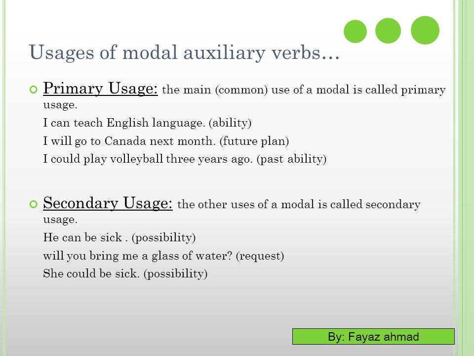 By: Fayaz ahmad Usages of modal auxiliary verbs… Primary Usage: the main (common) use of a modal is called primary usage. I can teach English language