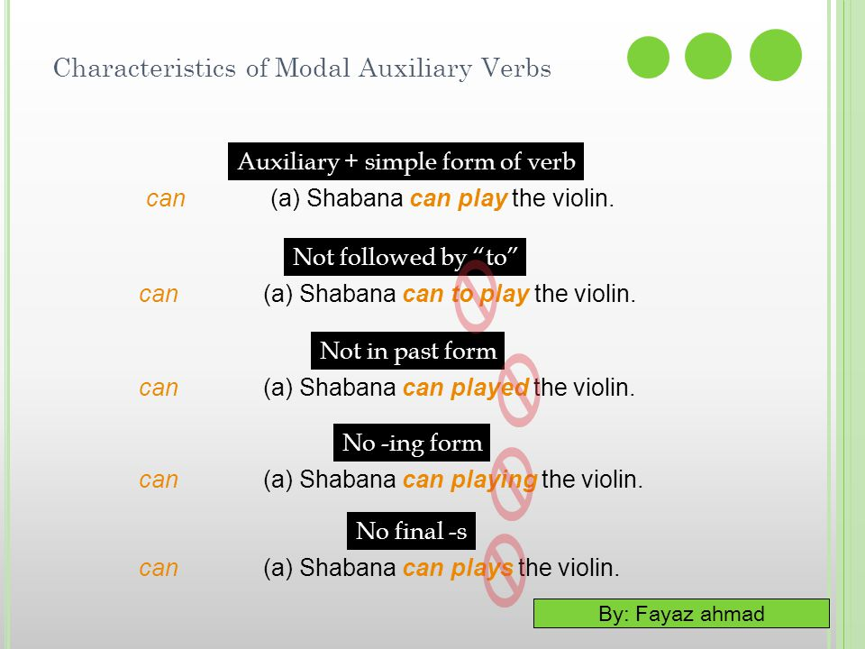 "By: Fayaz ahmad Characteristics of Modal Auxiliary Verbs Auxiliary + simple form of verb can (a) Shabana can play the violin. Not followed by ""to"" No"