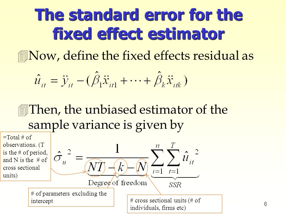 4After computing the estimated sample variance, you can compute the standard errors for the parameters by applying the formula given in Handout 2.