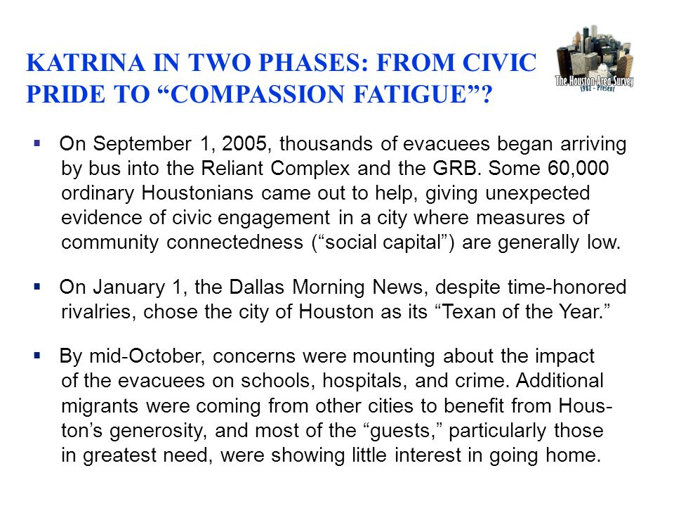  On September 1, 2005, thousands of evacuees began arriving by bus into the Reliant Complex and the GRB. Some 60,000 ordinary Houstonians came out to