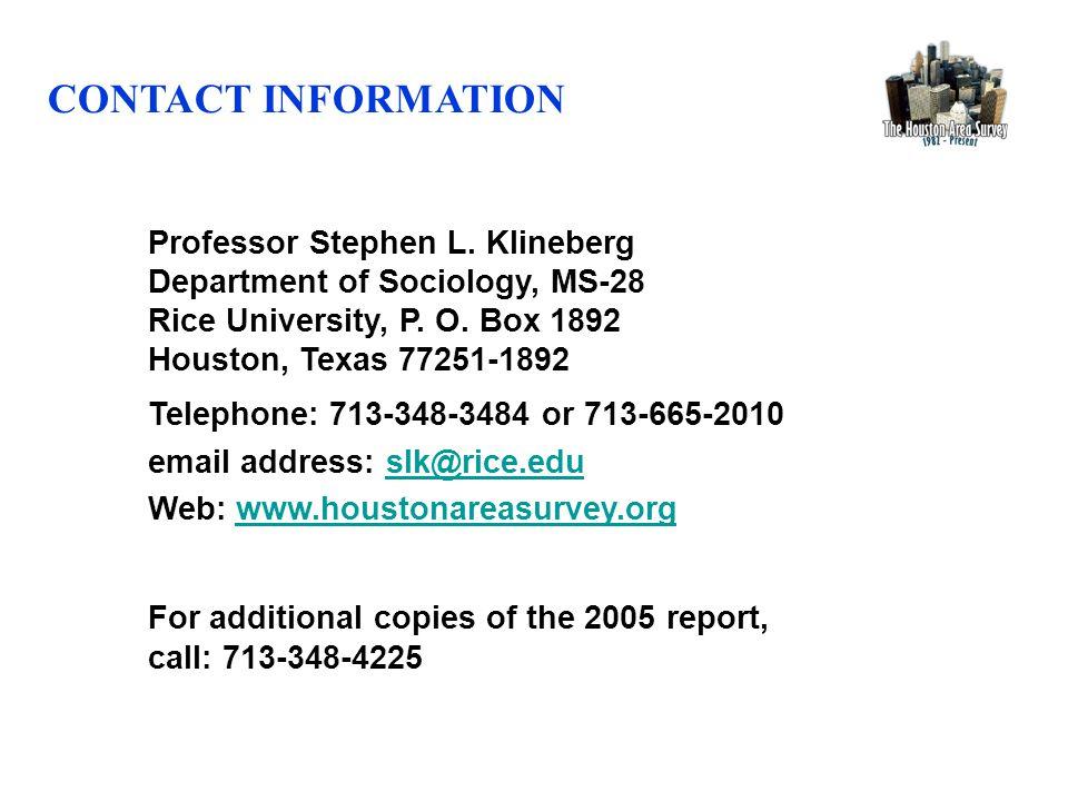 Professor Stephen L. Klineberg Department of Sociology, MS-28 Rice University, P.