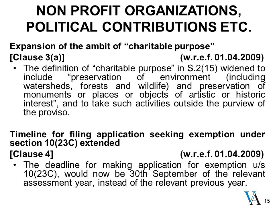 15 Expansion of the ambit of charitable purpose [Clause 3(a)] (w.r.e.f.