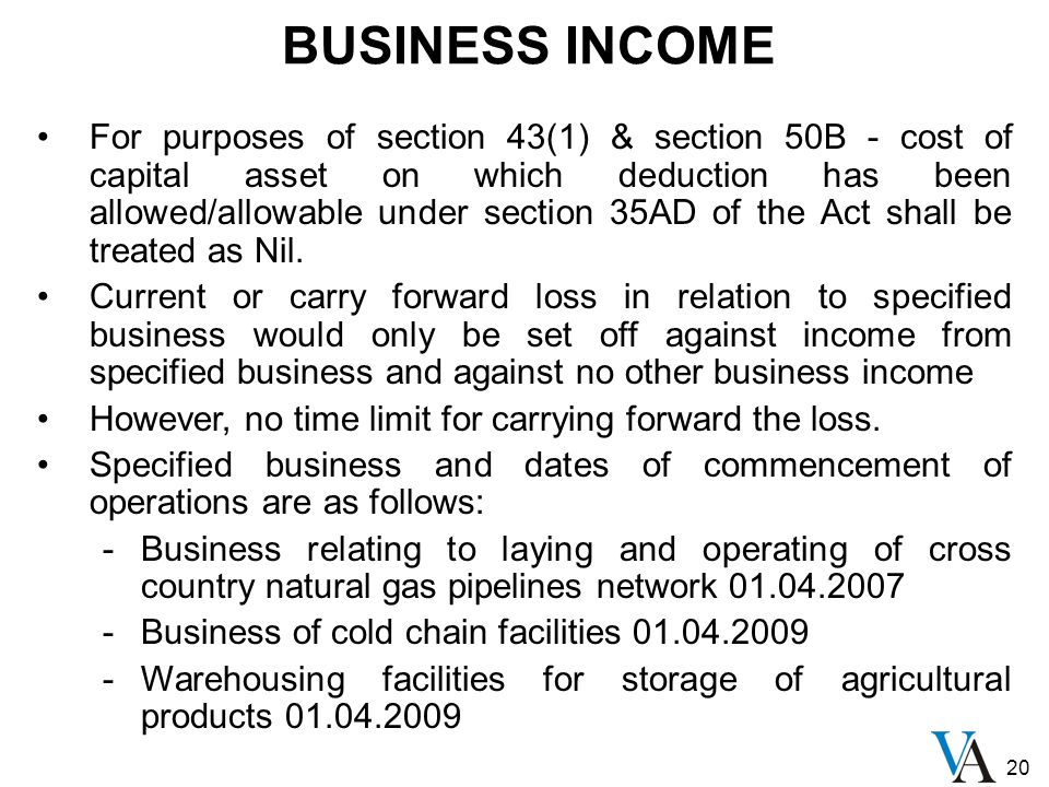 20 BUSINESS INCOME For purposes of section 43(1) & section 50B - cost of capital asset on which deduction has been allowed/allowable under section 35A