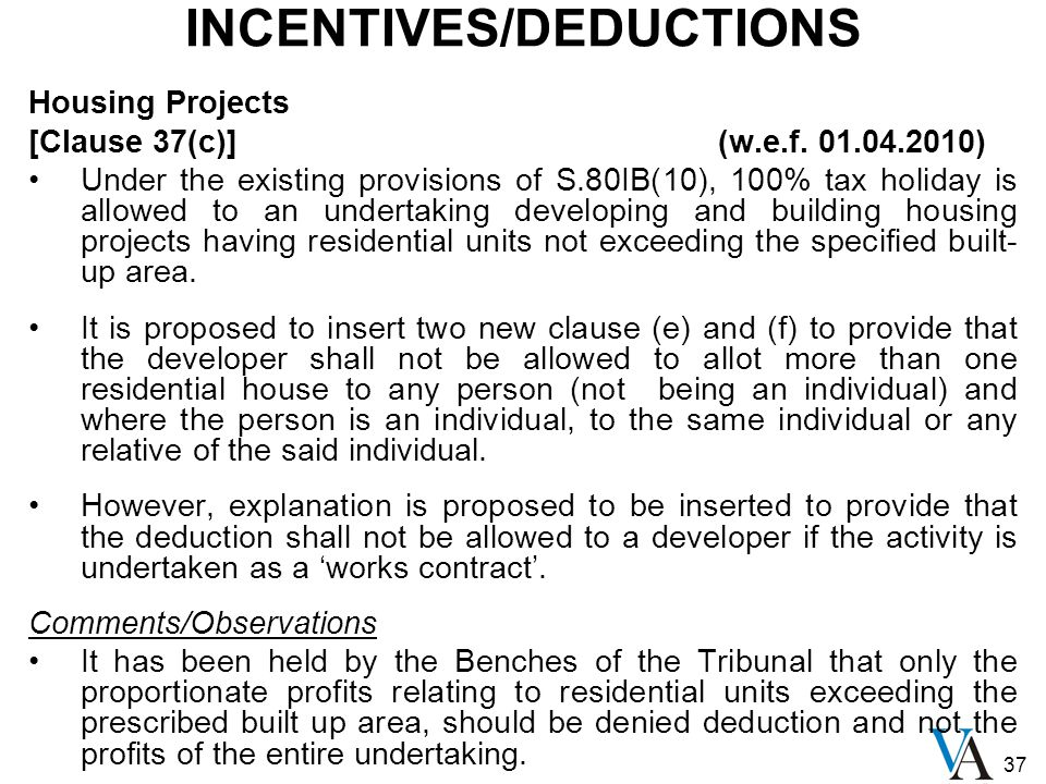 37 INCENTIVES/DEDUCTIONS Housing Projects [Clause 37(c)] (w.e.f.