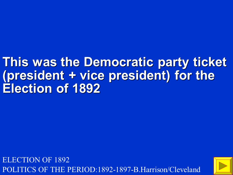 WHAT IS the emergence of the POPULIST PARTY 200 POLITICS OF THE PERIOD:1892-1897-B.Harrison/Cleveland