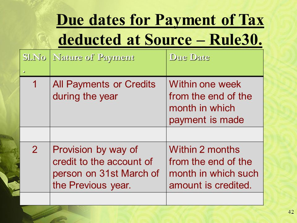 42 Due dates for Payment of Tax deducted at Source – Rule30.
