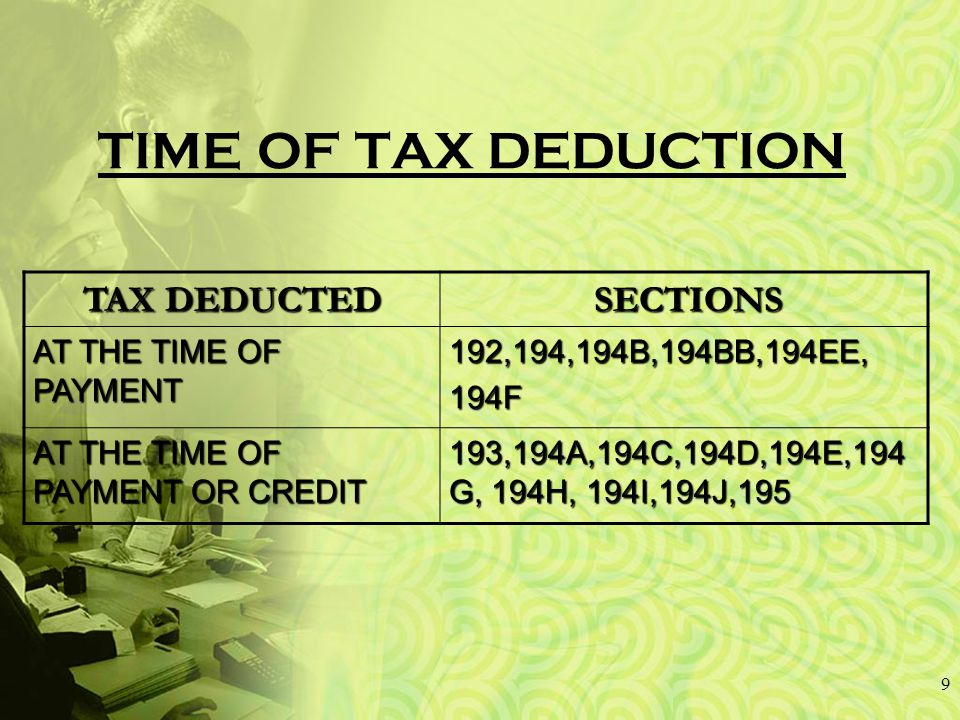 TIME OF TAX DEDUCTION 9 TAX DEDUCTED SECTIONS SECTIONS AT THE TIME OF PAYMENT 192,194,194B,194BB,194EE,194F AT THE TIME OF PAYMENT OR CREDIT 193,194A,194C,194D,194E,194 G, 194H, 194I,194J,195