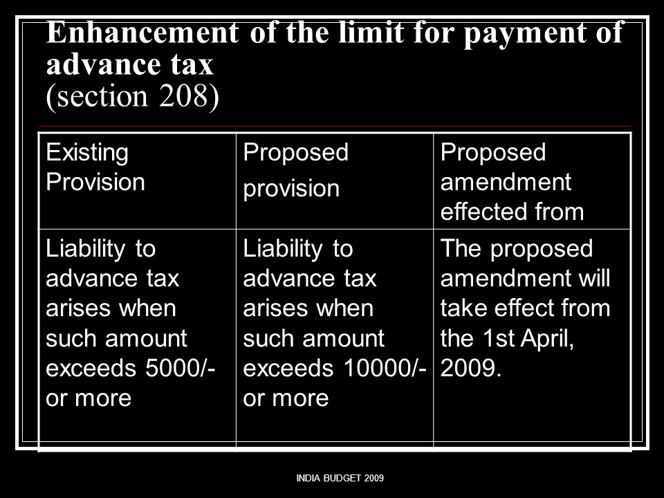 INDIA BUDGET 2009 Enhancement of the limit for payment of advance tax (section 208) Existing Provision Proposed provision Proposed amendment effected