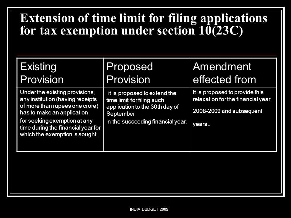 INDIA BUDGET 2009 Extension of time limit for filing applications for tax exemption under section 10(23C) Existing Provision Proposed Provision Amendment effected from Under the existing provisions, any institution (having receipts of more than rupees one crore) has to make an application for seeking exemption at any time during the financial year for which the exemption is sought.