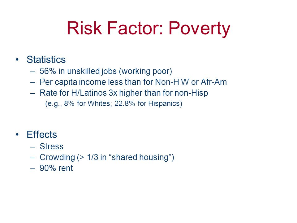 Risk Factor: Poverty Statistics –56% in unskilled jobs (working poor) –Per capita income less than for Non-H W or Afr-Am –Rate for H/Latinos 3x higher than for non-Hisp (e.g., 8% for Whites; 22.8% for Hispanics) Effects –Stress –Crowding (> 1/3 in shared housing ) –90% rent