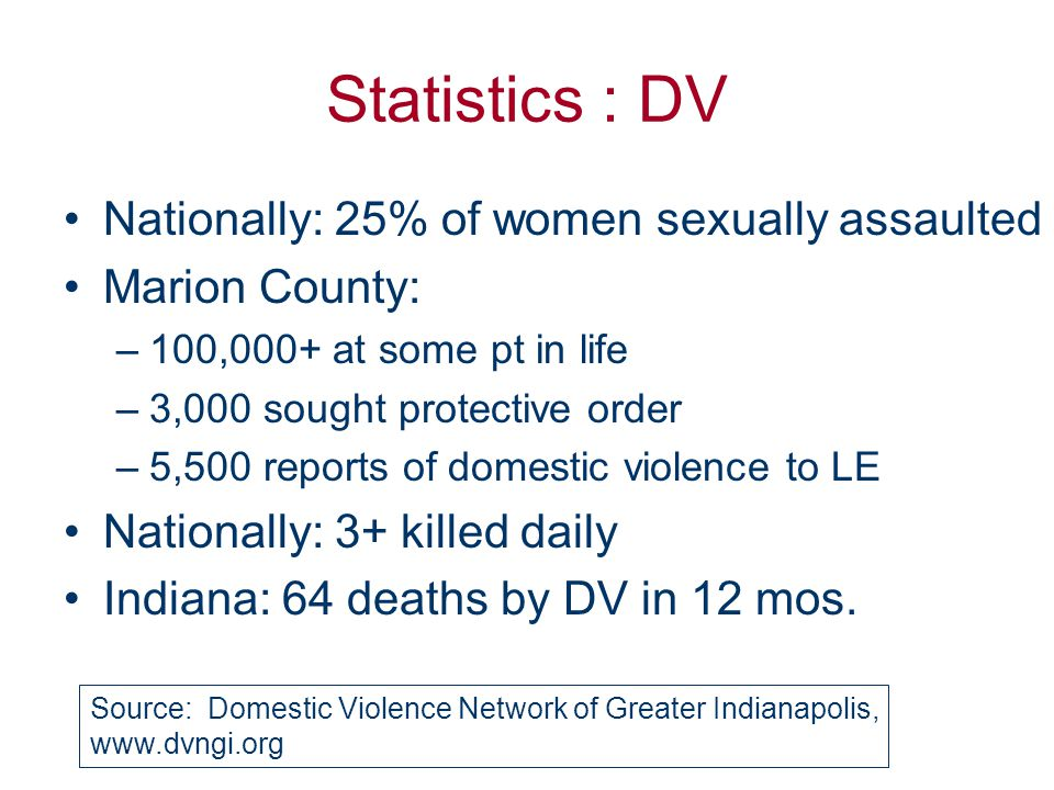 Statistics : DV Nationally: 25% of women sexually assaulted Marion County: –100,000+ at some pt in life –3,000 sought protective order –5,500 reports