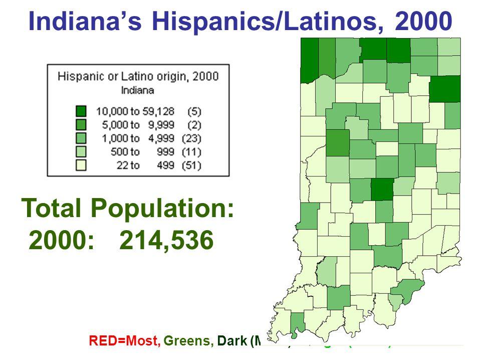 Indiana's Hispanics/Latinos, 2000 RED=Most, Greens, Dark (More)  Light (Least) Total Population: 2000: 214,536