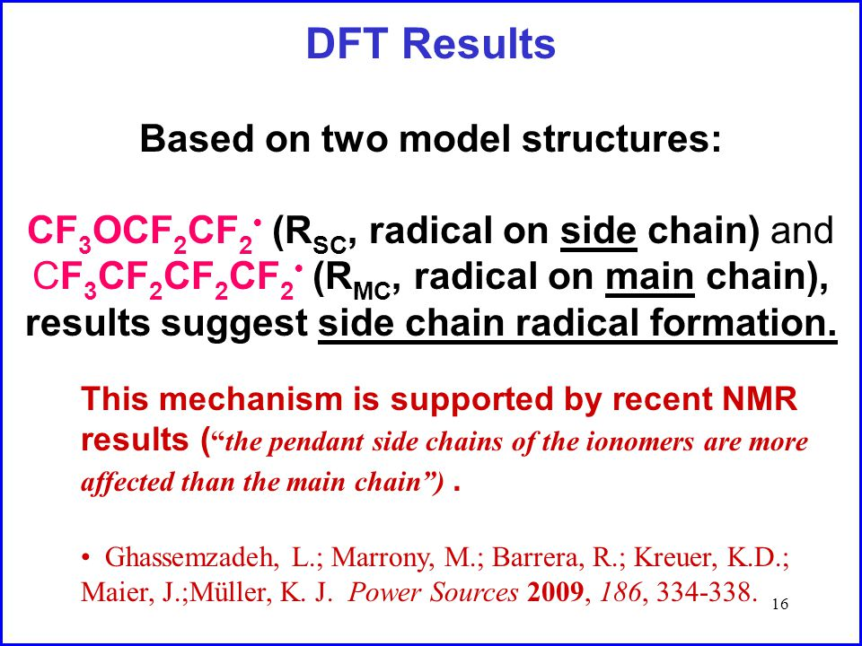 16 DFT Results Based on two model structures: CF 3 OCF 2 CF 2 (R SC, radical on side chain) and CF 3 CF 2 CF 2 CF 2 (R MC, radical on main chain), results suggest side chain radical formation.