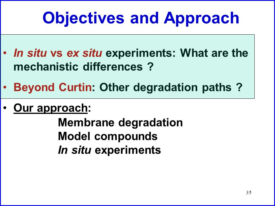 35 Objectives and Approach In situ vs ex situ experiments: What are the mechanistic differences .