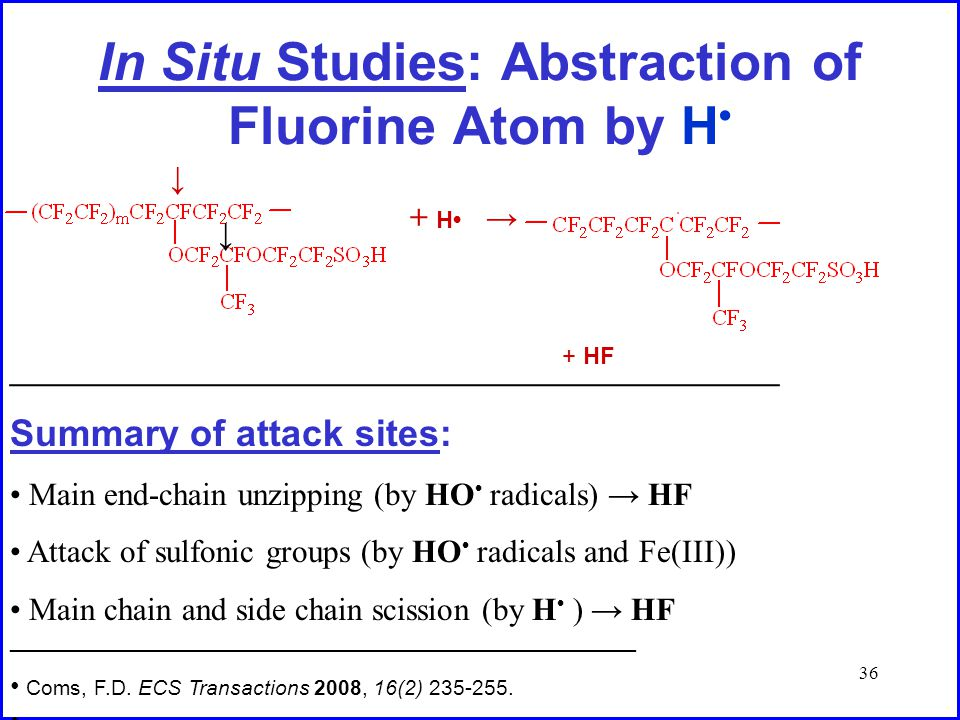 36 In Situ Studies: Abstraction of Fluorine Atom by H + H → + HF ↓ ___________________________________________ Summary of attack sites: Main end-chain unzipping (by HO radicals) → HF Attack of sulfonic groups (by HO radicals and Fe(III)) Main chain and side chain scission (by H ) → HF __________________________________________ Coms, F.D.