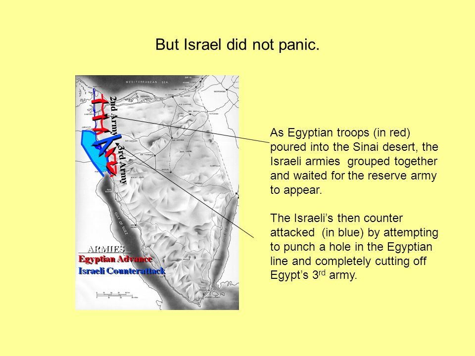 But Israel did not panic. As Egyptian troops (in red) poured into the Sinai desert, the Israeli armies grouped together and waited for the reserve arm