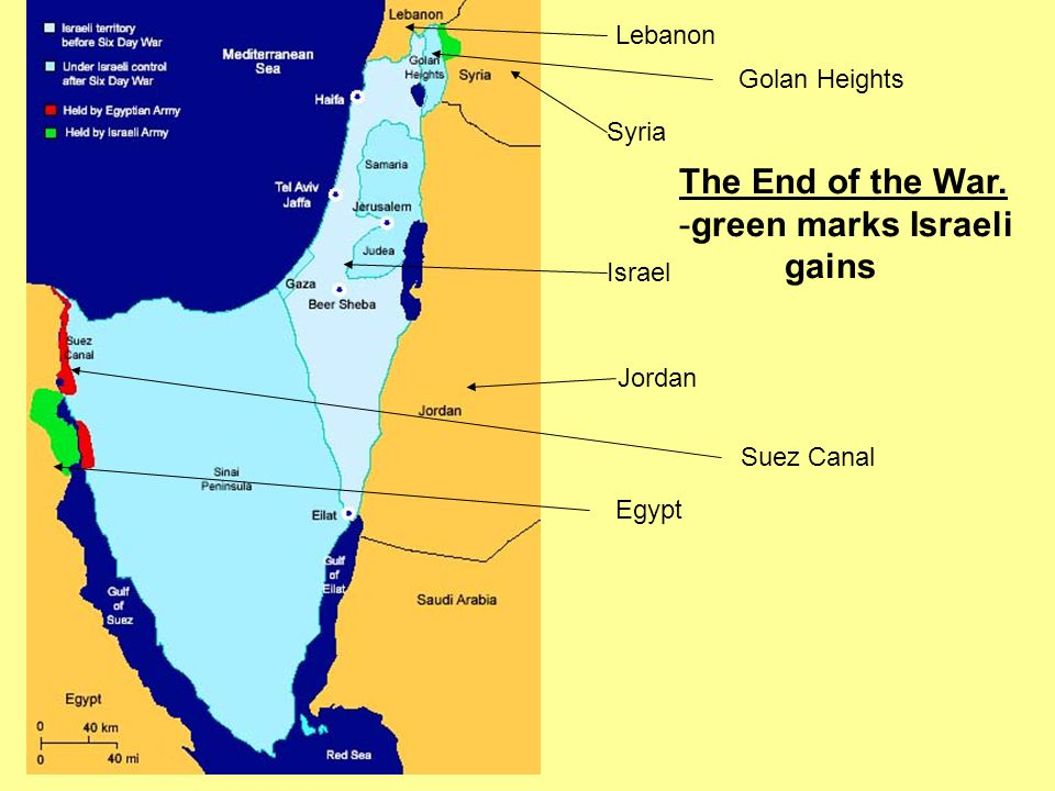 Lebanon Syria Israel Jordan Egypt Suez Canal Golan Heights The End of the War. -green marks Israeli gains