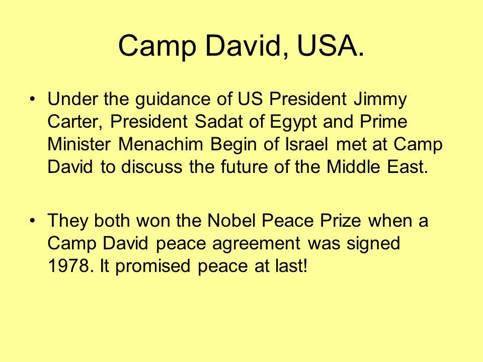 Camp David, USA. Under the guidance of US President Jimmy Carter, President Sadat of Egypt and Prime Minister Menachim Begin of Israel met at Camp Dav