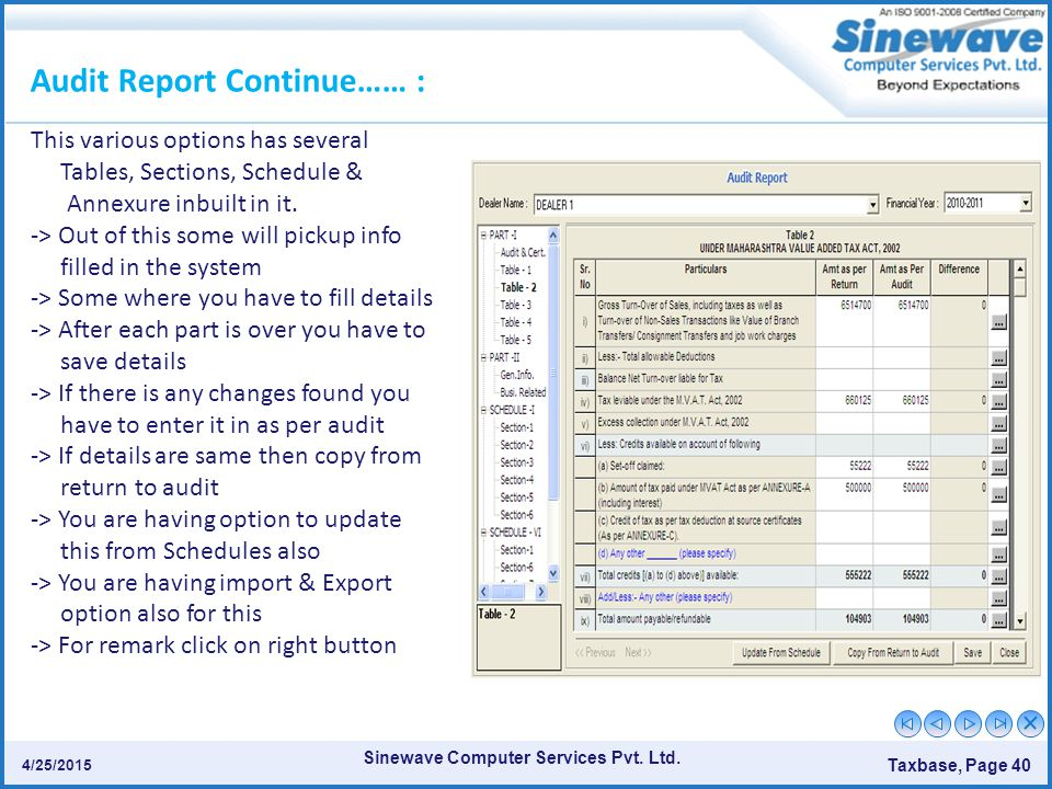 Sinewave Computer Services Pvt. Ltd. Taxbase, Page 40 4/25/2015 Audit Report Continue…… : This various options has several Tables, Sections, Schedule