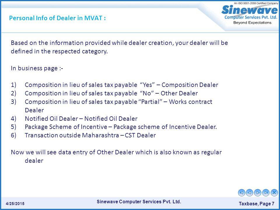 Sinewave Computer Services Pvt.Ltd. Taxbase, Page 8 4/25/2015.